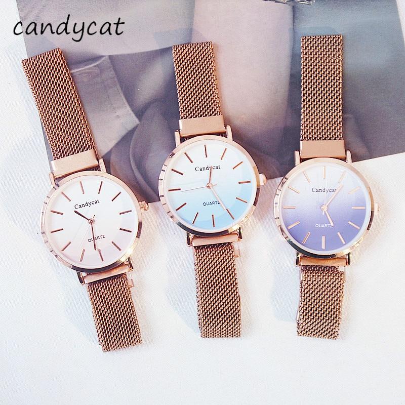 CandyCat Watch Female Student Simple Fashion Magnet Ladies' Watch Fashion Cherry Blossom Powder Jewelry Wrist Decoration
