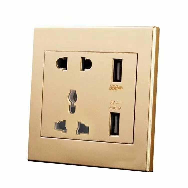 Универсальный стандарт 2.1A USB настенная розетка домашнее настенное зарядное устройство 2 порта USB розетка зарядное устройство для телефона белый/черный/золотой