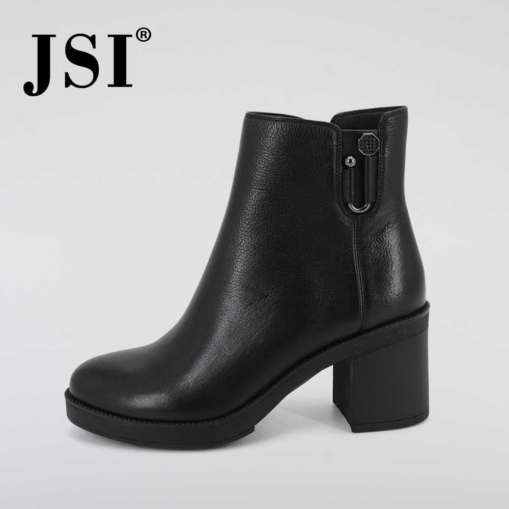 JSI kış kadın çizmeler orta buzağı hakiki deri katı ayakkabı yuvarlak ayak kare topuk temel yüksek topuk el yapımı botlar kadın JC351