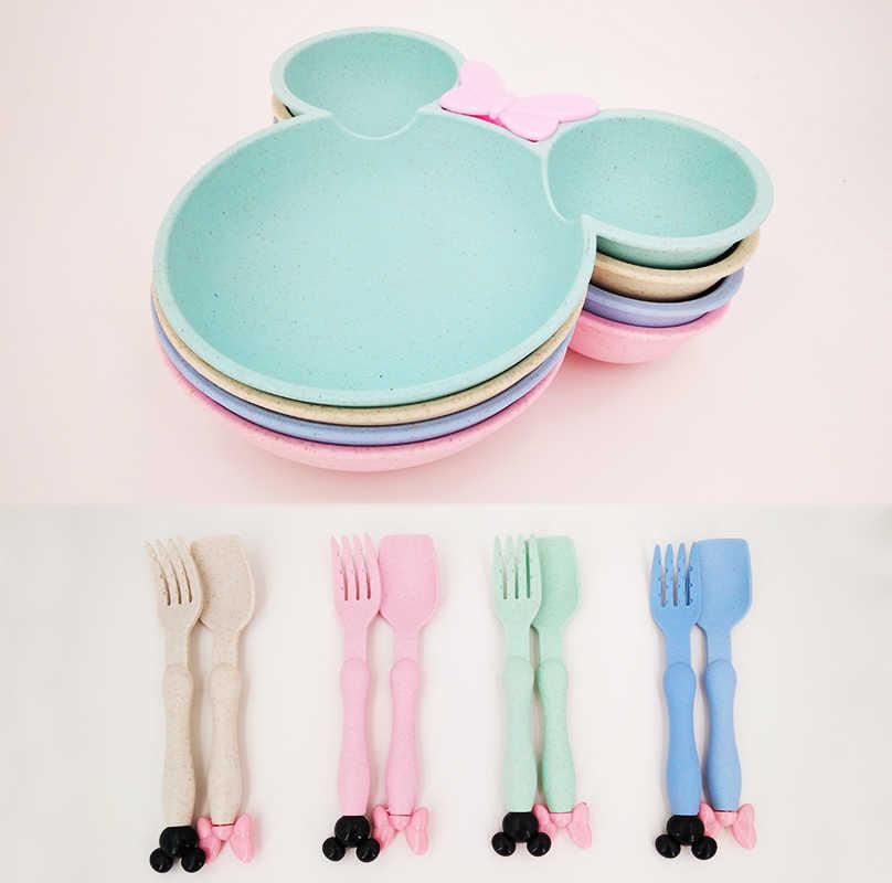 Cuenco para bebé plato para bebé cuchara-tenedor vajilla-Juego de paja-tazón de comida de trigo-plato para bebés niños dibujos animados tazón de entrenamiento para bebés