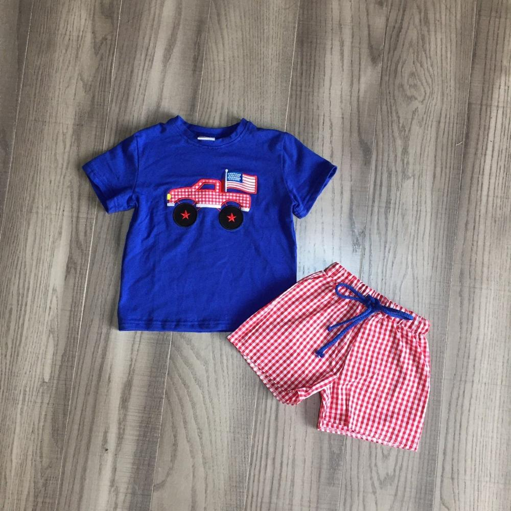 Baby Boy Summer July 4th Outfit Boys Flag Truck Shirt With Red Plaid Shorts Baby Children Independence Day Clothing