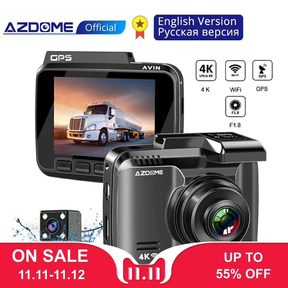 AZDOME GS63H 4K Dash Cam Built In GPS WIFI Car Camera With Real Camera Dvr WDR Night Vision Dashcam 24H Parking Monitor-in DVR/Dash Camera from Automobiles & Motorcycles