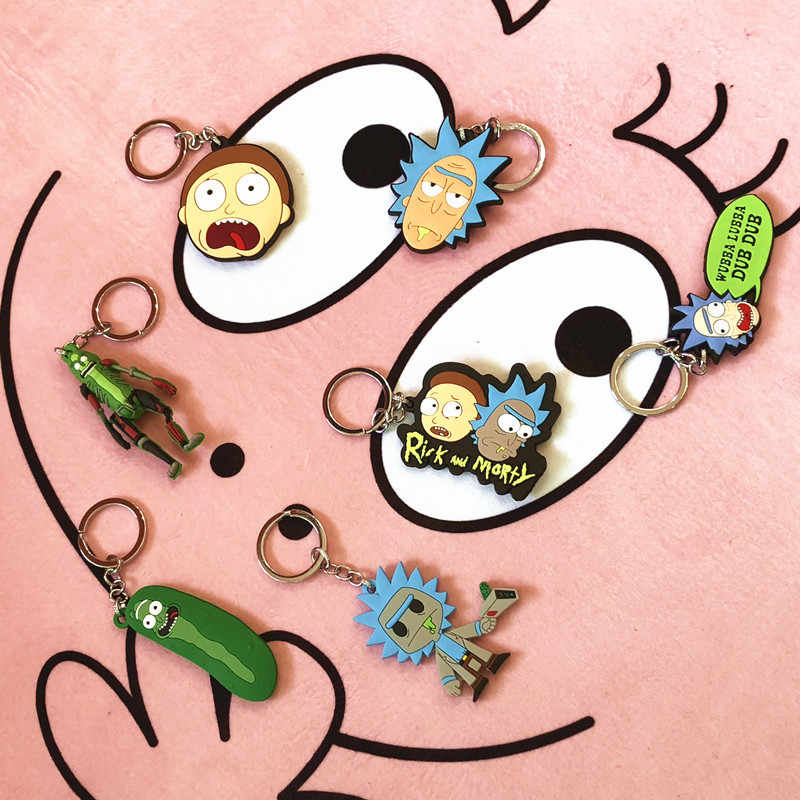 Rick and Morty Keychain Cosplay Costume Prop Accessories Jewelry Keyring