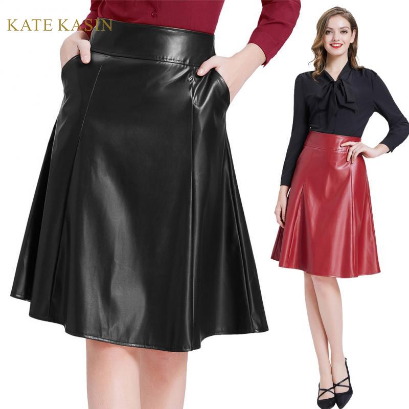 Kate Kasin Women Faux Leather Skirt With Pockets Flared A-Line Skirts Ladies Vintage Back Zipper Black/Red PU Leather Midi Skirt