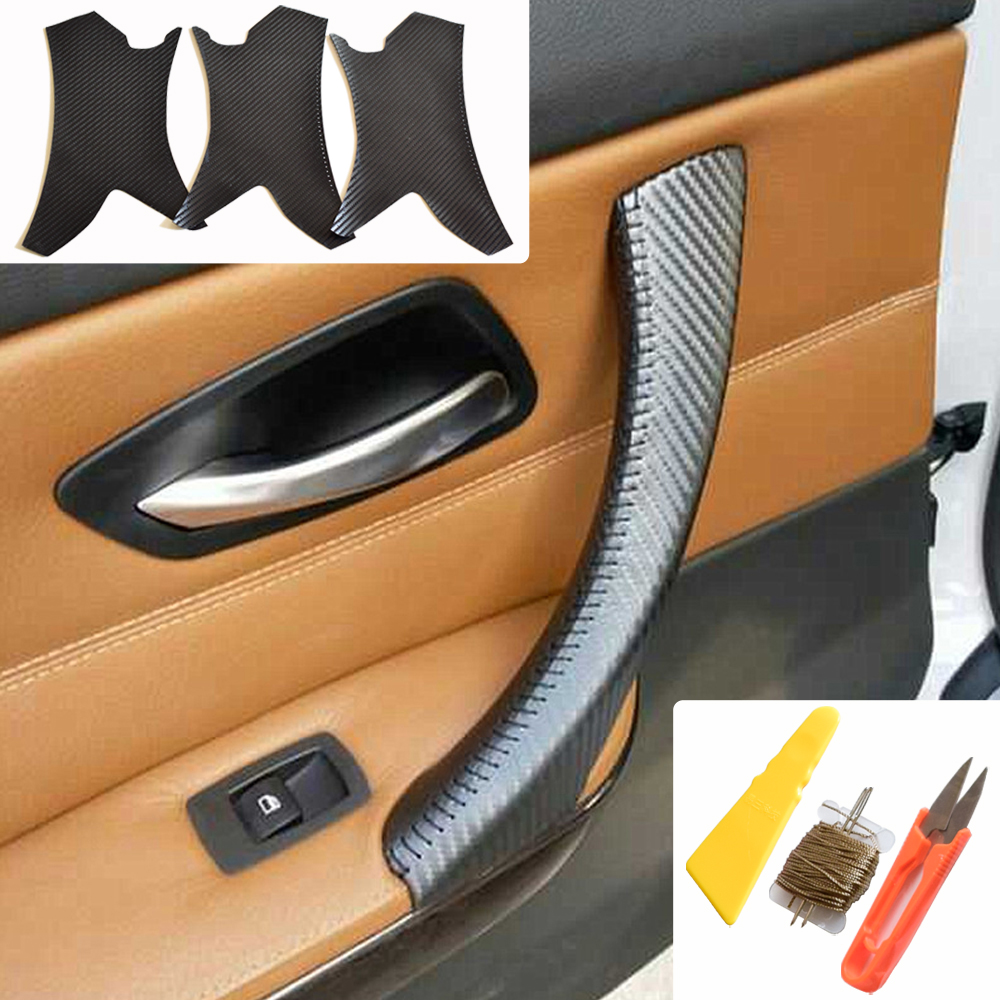 Fit For <font><b>BMW</b></font> 3 Series E90 E91 <font><b>E92</b></font> E93 2005-12 <font><b>Interior</b></font> <font><b>Door</b></font> <font><b>Handle</b></font> Hand Sewing Micro Leather Panel Pull Trim Cover Carbon Texture image