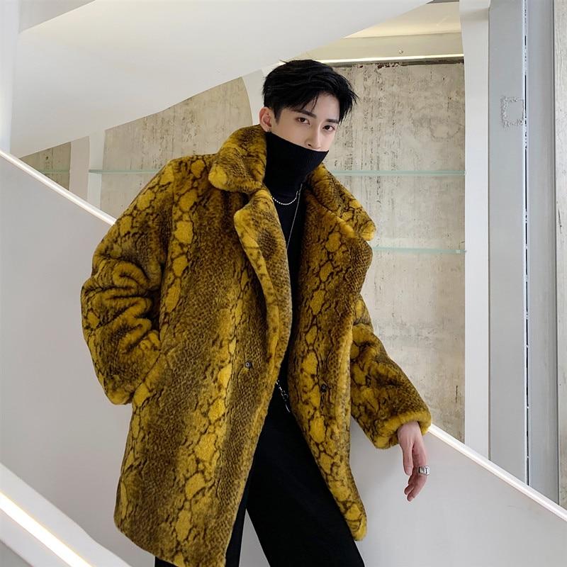 Men Winter Thick Faux Fur Jacket Overcoat Male Women Couple Vintage Streetwear Fashion Hip Hop Casual Loose Coat Outerwear