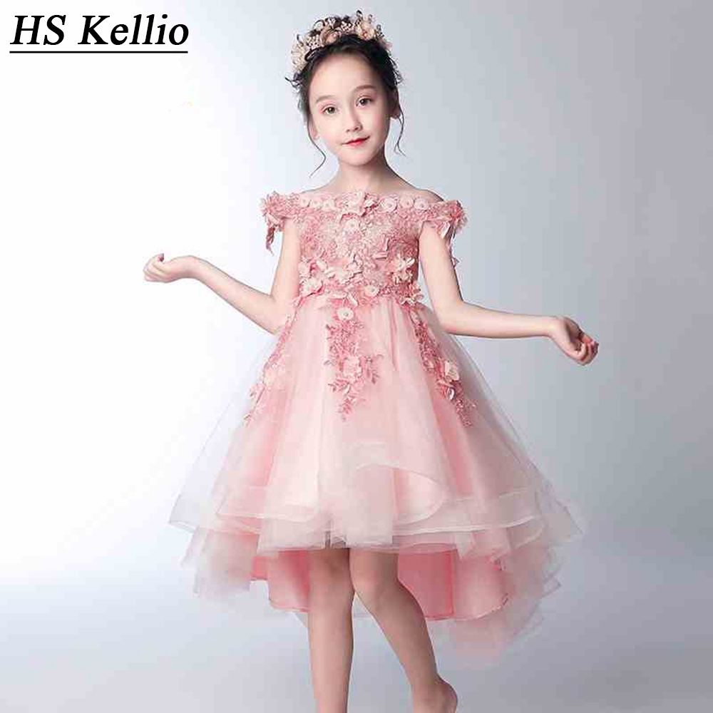 HS Kellio   Girls  ' Pageant   Dresses   Party Pink Off Shoulder High Low   Flower     Girl     Dresses   With Three D   Flowers