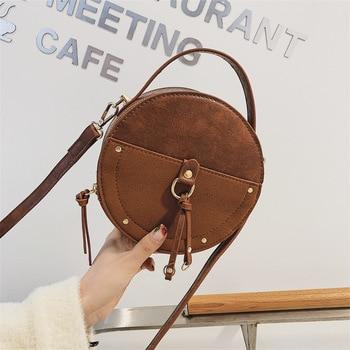 Vintage Ladies Small Handbags Crossbody Bag For Women 2020 PU Leather Shoulder Bags Scrub Leather Round Designer Mini Tote Bag