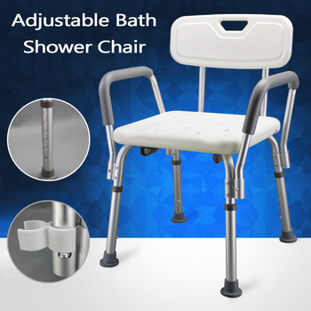 Adjustable Height Aluminum Bath And Shower Chair Top Rated Shower Bench Safety Seat Shower Stool For Elderly Aid Backrest Chair