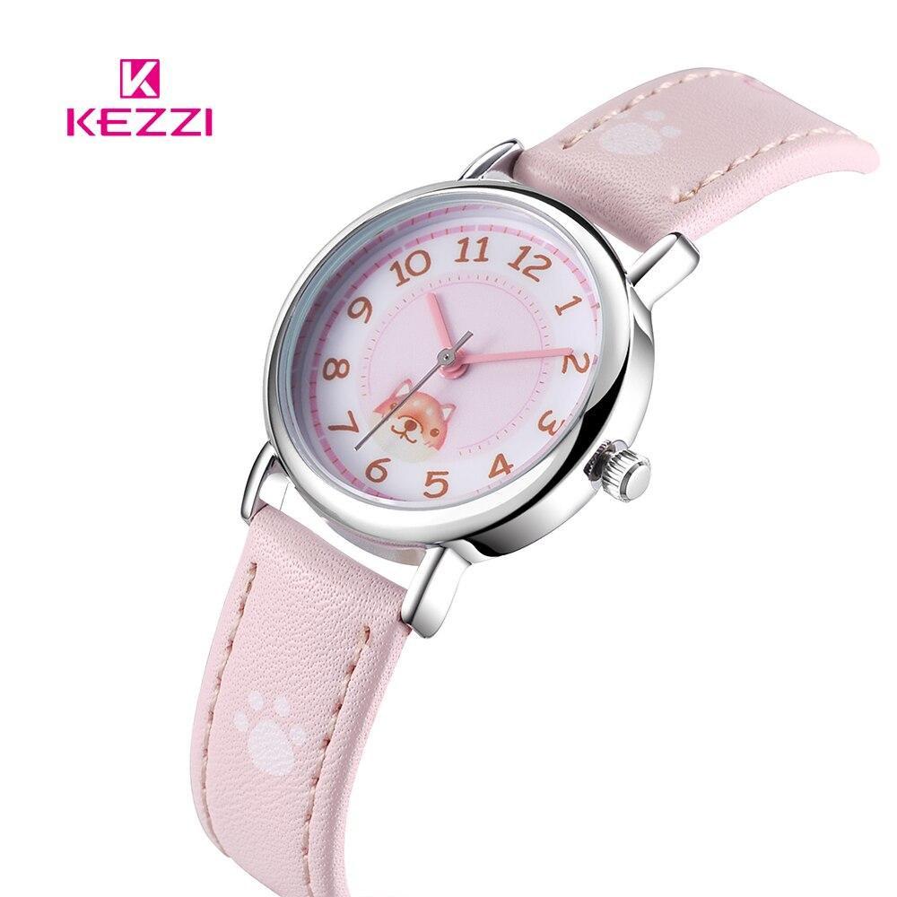 KEZZI Lovely Children Watches Cats Puppy Numerals Dial Kids Watch Star Printing Strap Cartoon Students Quartz Wristwatch Clock
