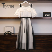 Trytree 2020 Summer Women Two Piece Set Casual Ruffles Loose Solid Tops