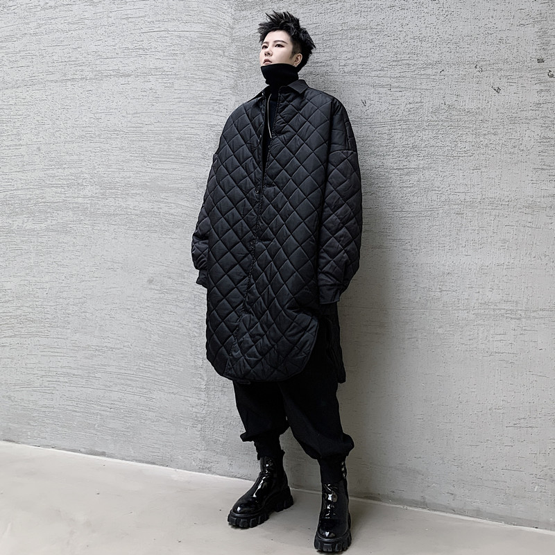 Men Padded Cotton Shirt Style Jacket Overcoat Male Japan Vintage Streetwear Punk Gothic Thin Parkas Coat Outerwear