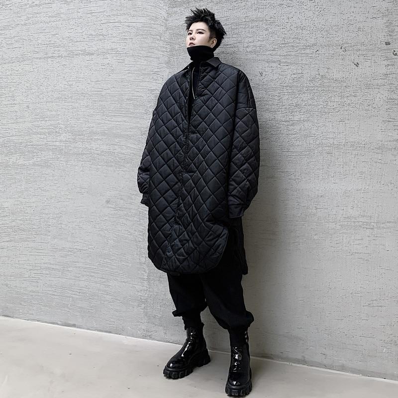 Men Padded Cotton Shirt Style Jacket Overcoat Male Japan Vintage Streetwear Punk Gothic Thin Parkas Coat Outerwear