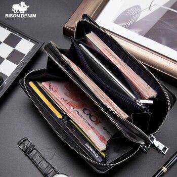 Мужской кошелек BISON DENIM, с карманом для монет, длинный деловой кошелек на двойной молнии, сумка-клатч из натуральной кожи, сумочка из воловьей...