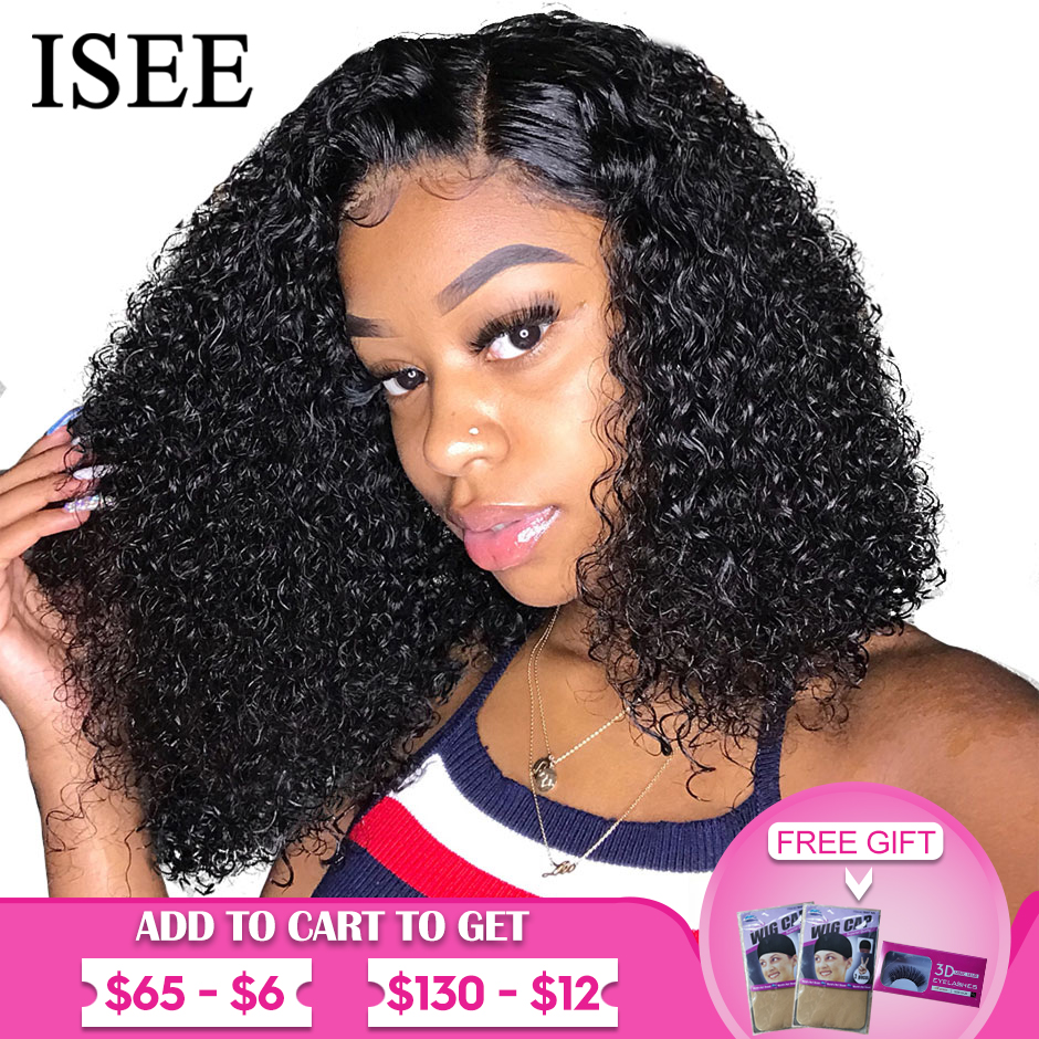 ISEE HAIR Curly Bob Lace Front Wigs For Women Kinky Curly Lace Front Wig 360 Lace Frontal Wig Brazilian Curly Human Hair Wigs