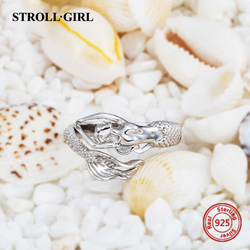 Strolgirl Plata de Ley 925 hermosa sirena ajustable tamaño abierto anillo de moda fabricación de joyas para mujeres regalo envío gratis