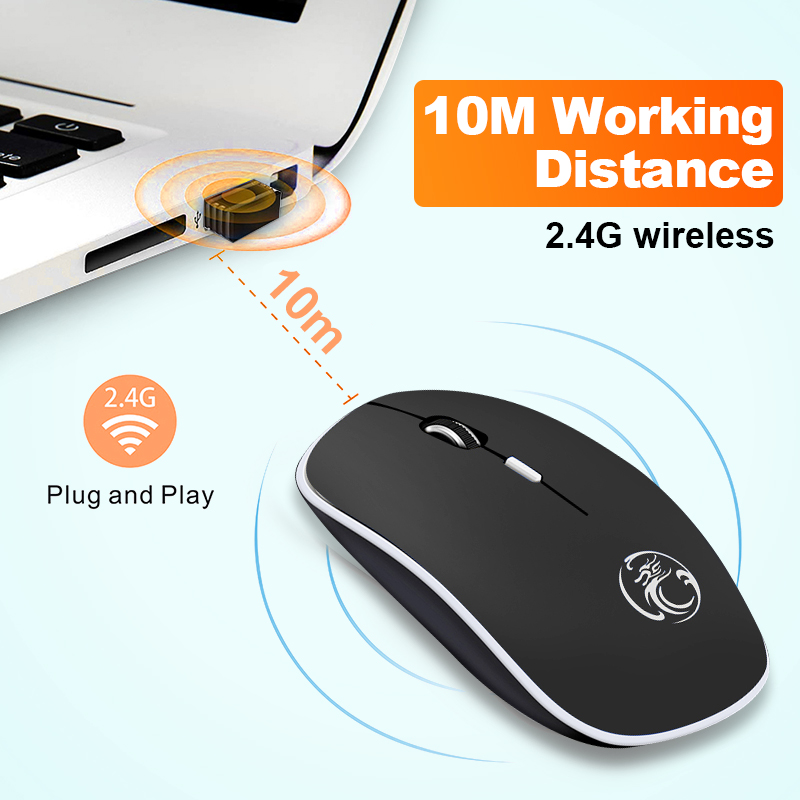 iMice Wireless Mouse Silent Computer Mouse 1600 DPI Ergonomic Mause Noiseless Sound USB PC Mice Mute Wireless Mice for Laptop 3