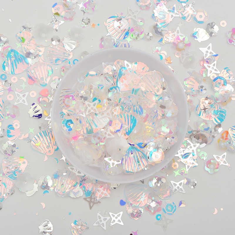 JUNAO 10g לערבב צבע גודל קוריאה כחול גליטר פאייטים פתיתי Paillette פן קישוט PVC פאייטים מדבקות עבור מלאכות