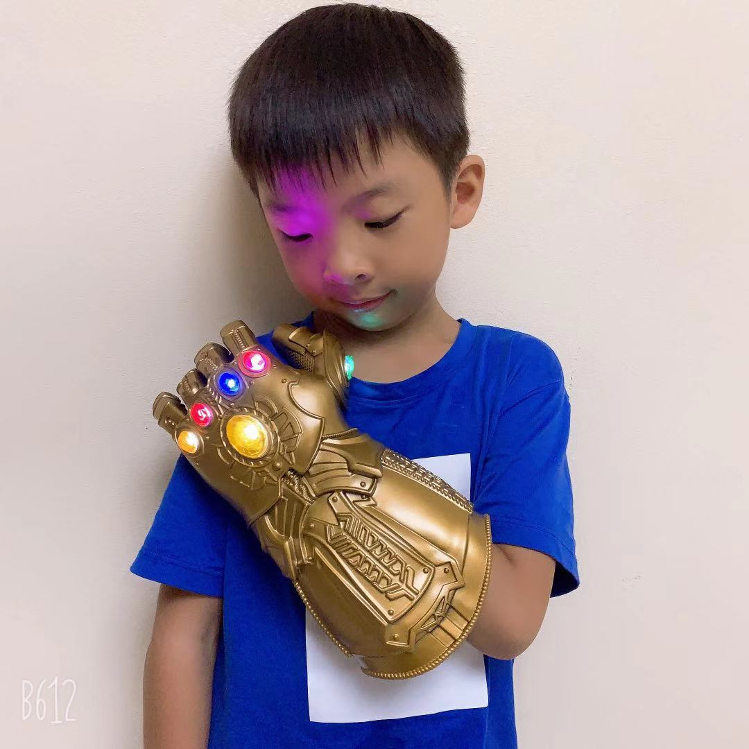 Avengers 4 Iron Man Infinity Gauntlet Cosplay Latex Thanos LED Gloves Arms Thanos Mask Glove  Superhero Toys Weapon Party Props