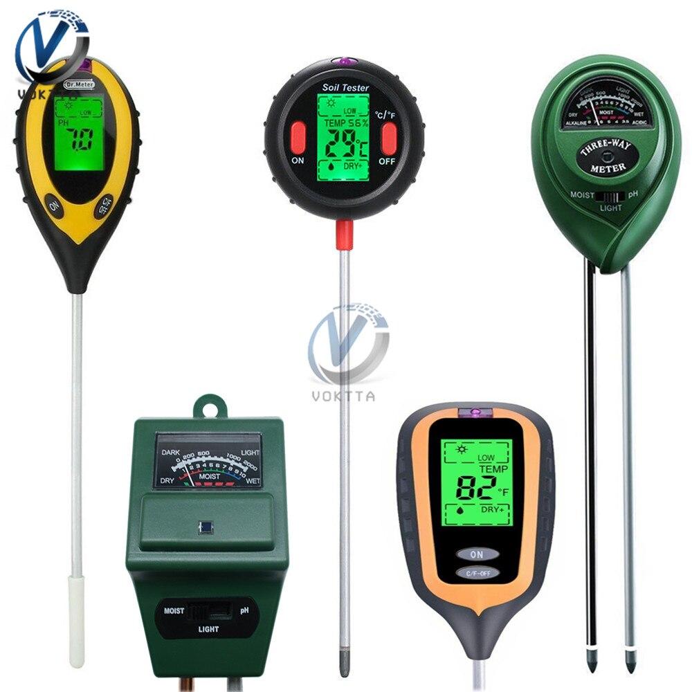 3/4/5 In 1 Multifunctional Soil PH Tester Digital PH Meter Temperature Moisture Sunlight Intensity Measurement For Garden Plants