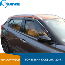 Side Window Deflector For Nissan Kicks 2017 2018 2019 2020 Smoke Window Visor Vent Shades Sun Rain Deflector Guard SUNZ