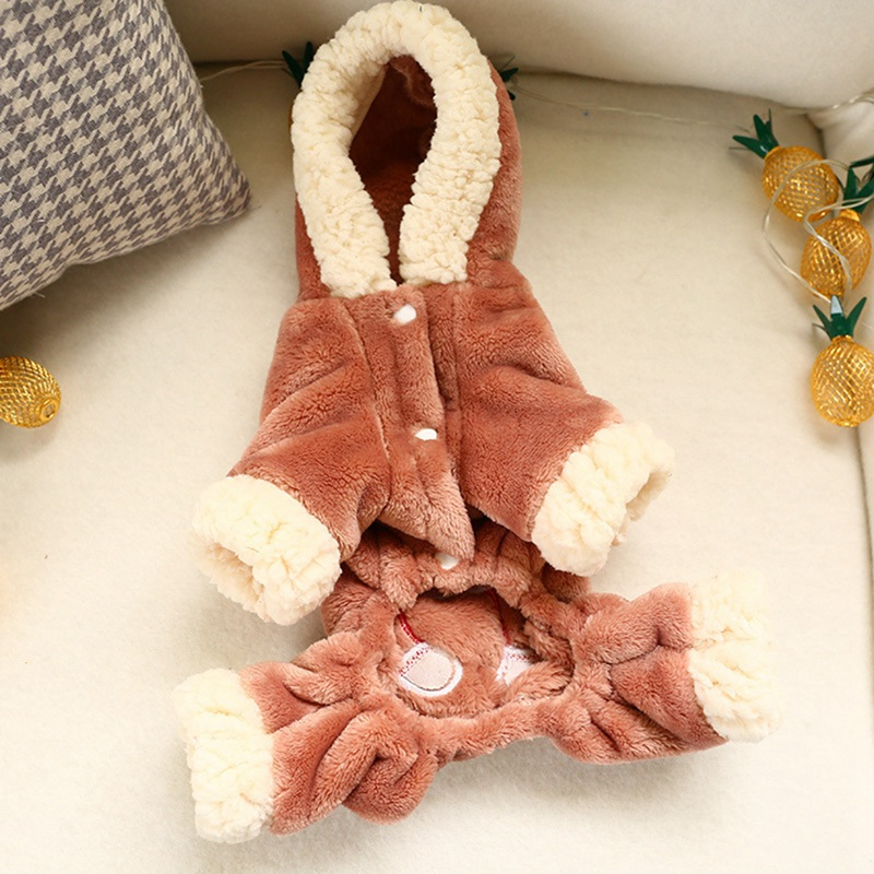 Pet Autumn Winter Warm Cute Bear Pattern Cosplay Costume Fashion Coral Velvet Thickening 4 Legged Coat Winter Overalls For Dog C