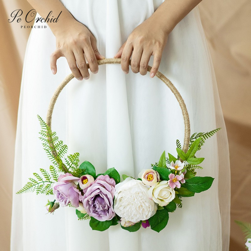PEORCHID Purple Rose Flower Wreaths Garland Wedding Wall Hanging Decoration DIY Bride Hand Flowers Bridal Bouquet Peony