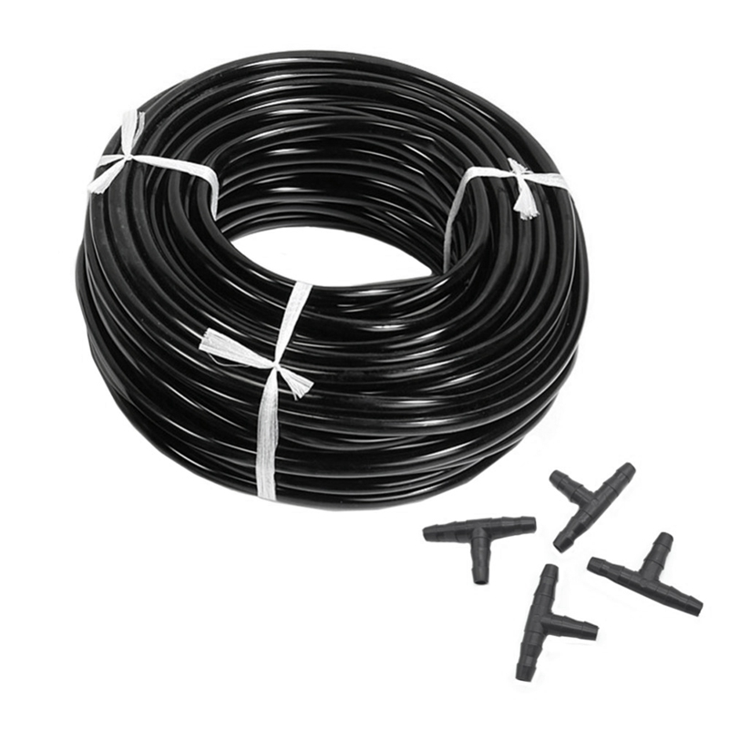 20m 4/7mm Hose Garden Water Micro-Irrigation Pipe With 20 Pcs Tee Connectors Gardening Lawn Agriculture Sprinking Drip Tube image