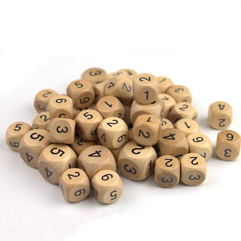 1/5/10pcs Wood Dice D6 Sided Dice 16mm 20mm Digital Number Cubes Round Coener For Kid Toys Board Games image