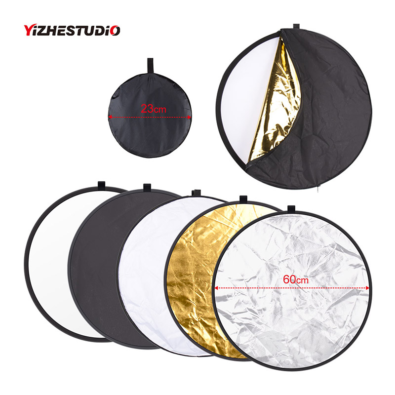 Yizhestudio 24inch 60cm 5 in 1 Reflector Collapsible light round Multi Photography Studio Flash Diffuers Gold Silver White Black