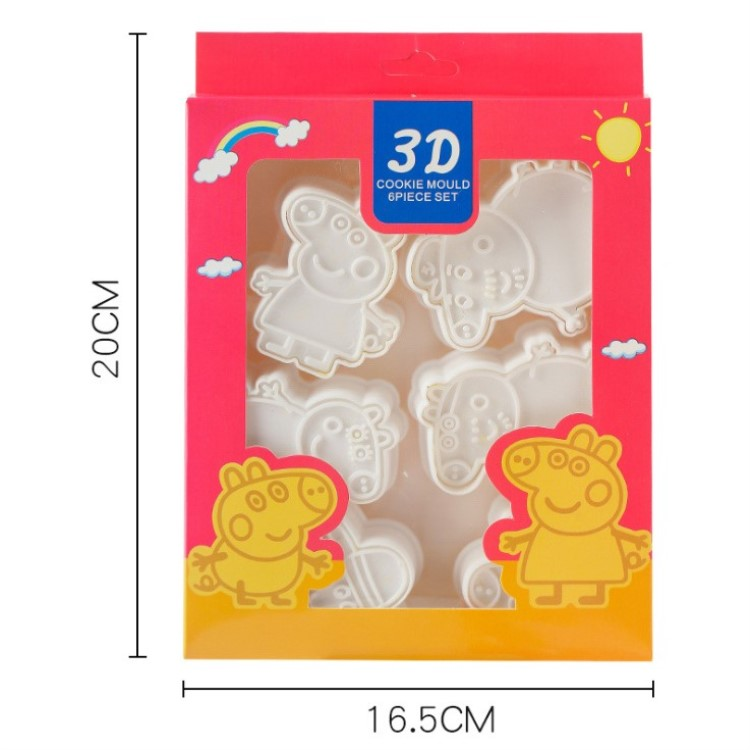 Cake Cookie Cutter Plastic 3D Baking Mould  Peppy Pig Cookie Cutter Set Cartoon Biscuit Baking Tools Decoration Tools