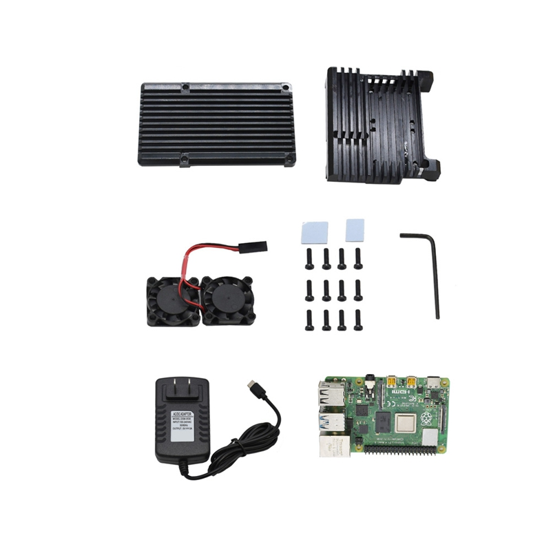 For Raspberry Pi 4 Model B 2G RAM DIY Kit with Aluminum CNC Alloy Protective Case Cooling Dual Fan 5V 3A Power Adapter