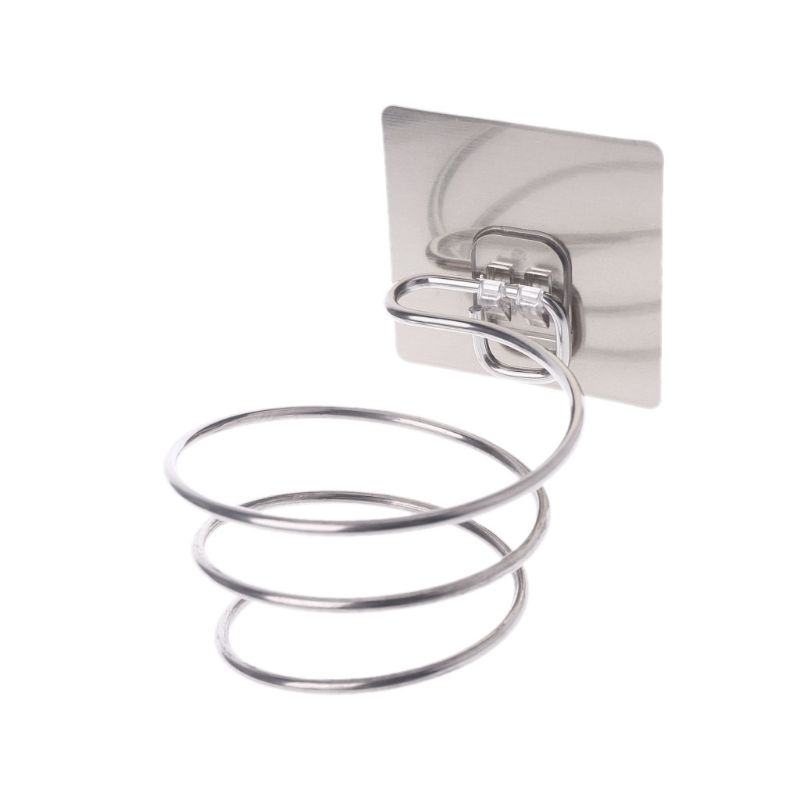 Hair Dryer Holder Blower Organizer Adhesive Wall Mounted Nail Free No Drilling Stainless Steel Spiral Stand For Bathroom
