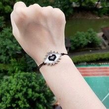 FAIRYWOO Women Cute Miyuki Bracelet Evil Eye Sweet Heart Shape Luxury Bracelets Drawstring For Best Friend Jewelry