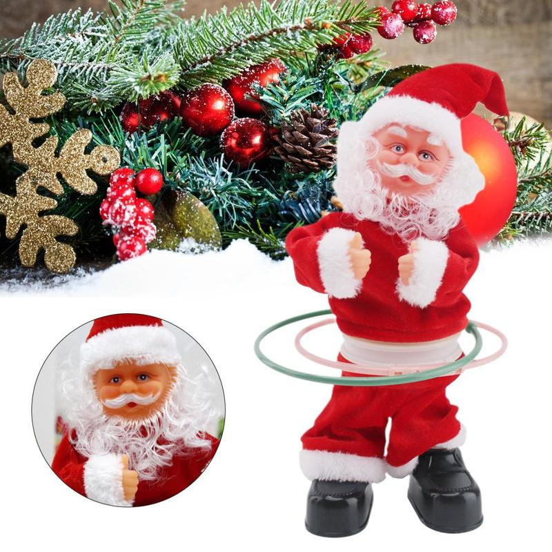Electric Santa Claus Toy Singing And Dancing Musical Hula Hoop Christmas Doll Twist Children's Gifts Electric Doll Toys