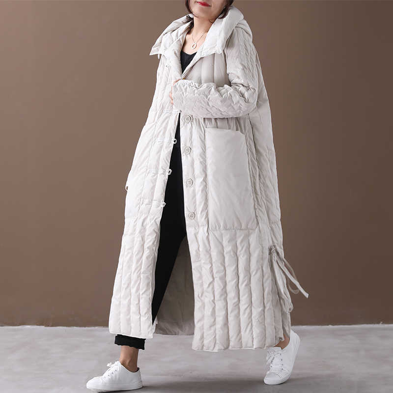 Chaqueta de plumas de ganso blanco de gran tamaño chaqueta de invierno abrigo de mujer abrigo de plumón cálido Parka Veste mujer YY1444