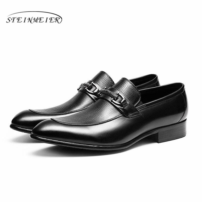 Hommes en cuir véritable richelieu chaussures d'affaires robe banquet costume chaussures hommes marque Bullock mariage oxford chaussures pour hommes 2019 noir-in Chaussures d'affaires from Chaussures    3