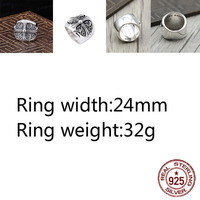 A81 100% S925 sterling silver ring personality punk style jewelry crusader flower wide breasted ring retro couple models hot