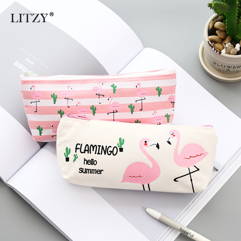 School Pencil Case Kawaii Canvas Flamingo Cactus Pencil Cases For Girl Stationery Pink Pencil Bag Pen Box Student Supplies Gift