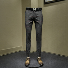 30% шерстяные мужские брюки Новое поступление уличная Тонкие штаны для молодых людей Осень Зима серые клетчатые утепленные мужские модные брюки 30 36