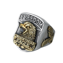 925 Sterling Silver Jewelry Men Women Creative Retro Letter Eagle Opening Ring Custom Adjustable Ring chic hollow out letter opening ring for women