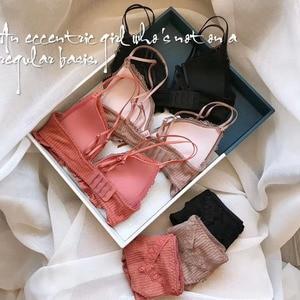 Image 2 - 三角カップシームレスファッション Bralette 女性ワイヤレス薄手のコットン通気性快適な下着ソリッドカラーのランジェリーセット
