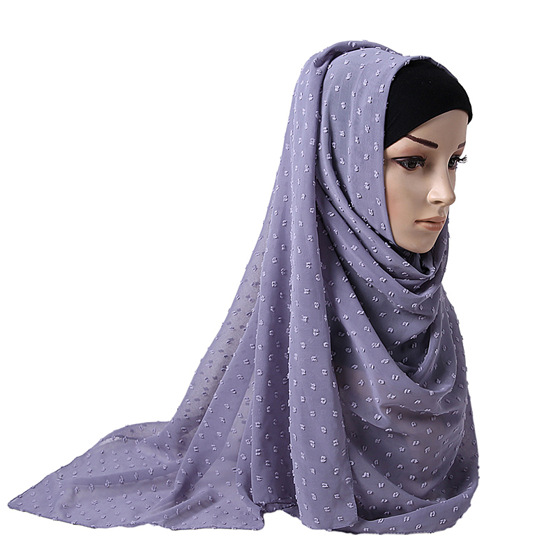 Luxuey Pom Pom Bubble Chiffon Hijab Scarf Women Long Shawl Wrap Muslim Headband Maxi Islamic Sjaal