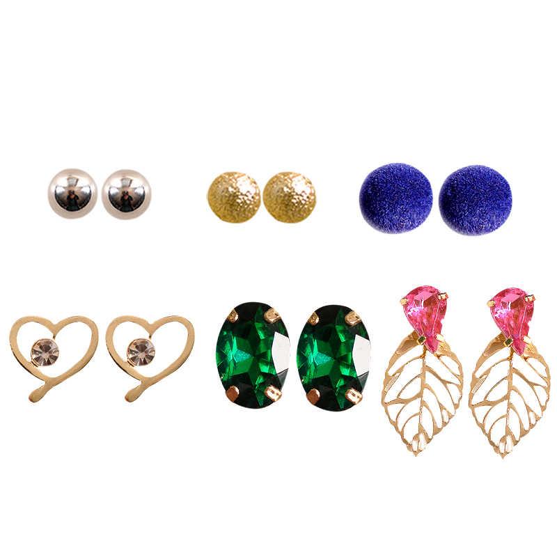 Nueva moda mujer joyería chica cumpleaños fiesta perla/rosa/Verde/pendientes en forma de corazón hermoso mashup 6 par/set pendientes regalo