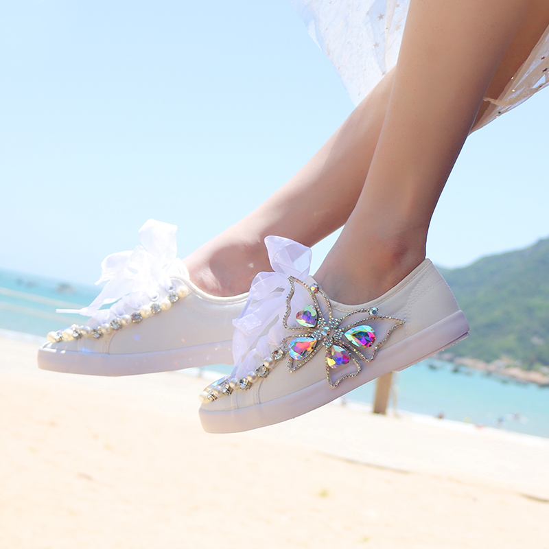 AB Gem Crystals Sneakers Women's Vulcanized Shoes Woman Pearls White Sneaker Ladies Trainers Canvas Casual Shoes Tenis Feminino