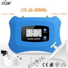 Sıcak! 4G LTE 800MHz Mobil Sinyal Güçlendirici 4g cep telefonu Amplifikatör 4G hücresel sinyal tekrarlayıcı Yagi + tavan anten kiti