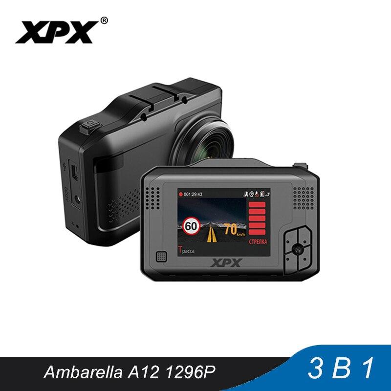 Câmera do carro Traço cam XPX SFHD 3 em 1 GPS DVR Radar dvr Carro 1296P Ambarella Dashcam Radar A12 detector sensor do G-