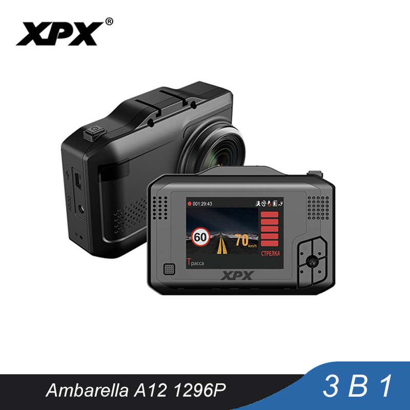 Car camera XPX Dash cam Car dvr 3 in 1 GPS Radar DVR SFHD 1296P Ambarella A12 Dashcam Radar detector G-sensor