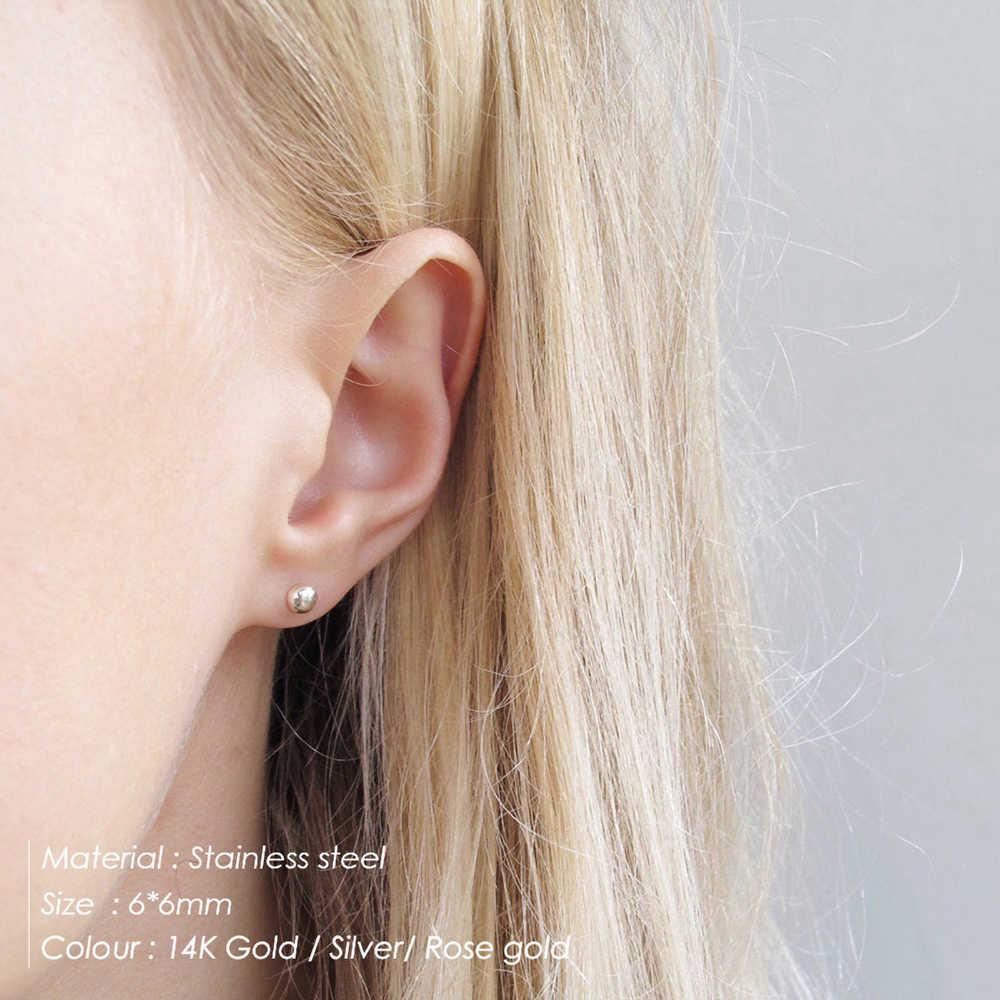 E-Manco Minimalist สแตนเลสชุดต่างหูผู้หญิงขนาดเล็กบาง Hoop ต่างหูแฟชั่นผู้หญิงเครื่องประดับแหวนหู 2 คู่