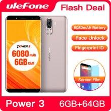Ulefone Power 3 스마트 폰 FHD + 스크린 6080mAh 빅 배터리 안드로이드 휴대폰 페이스 ID 6GB + 64GB 터치 ID 21MP 카메라 핸드폰